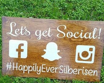 Wedding Hashtag Sign, Let's Get Social, Mr and Mrs, Social Media, Handmade Wedding Sign, Wooden Sign