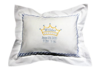Embroidered Blue Crown Pillow