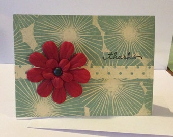 Hand made Card - Thank you - red flower
