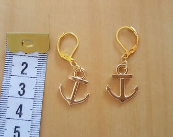 Anchor gold dangle earrings