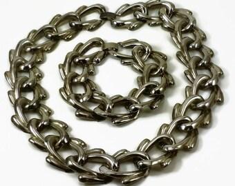 90's Chunky Silvertone Link Necklace and Bracelet Set