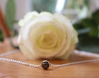 Black Rose Sterling Silver Pendant And Chain