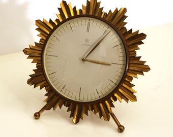 Junghans Sunburst brass table clock, 1950s