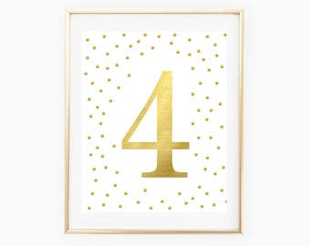 Printable Fourth Birthday Party Decorations - Number 4 - 4th Birthday Party - Gold Metallic - Gold Confetti - 4th Birthday Party Sign