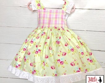 Little Girl's Spring Floral Dress - Easter Dress - Summer Dress - Vintage Charm Dress - Light Green and Pink Dress with Eyelet Accents