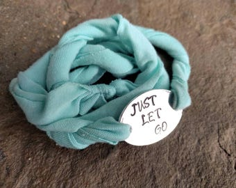 Just Let Go Fabric Bracelet - surrender jewelry - bravery - serenity now - mint fabric bracelet - one size - women's gift