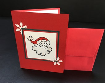 Santa Claus Holiday Christmas Card - Handmade Stamped Embossed - Unique!