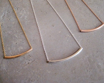 Rose gold filled curved tube necklace, rose gold filled necklace, curved bar necklace, minimalist necklace, layering necklace, So You