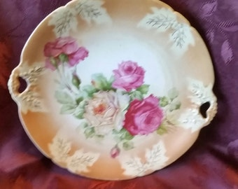 Vintage Rose plate with heart handles and Walmar Germany mark on back