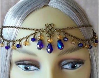 Bohemian/Turkish Turquoise & Yellow Gems on Silver Head Statement Jewelry