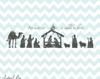 Nativity Christmas svg cutting file - Decoration Decal SVG, PNG, JPEG, Eps Vector Cricut Silhouette Cut Files Instant Download