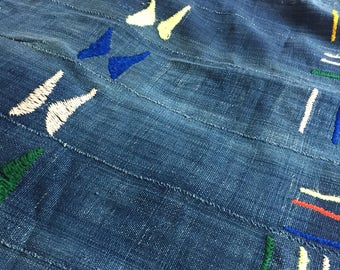 Indigo Hand embroidered tapestry african textile