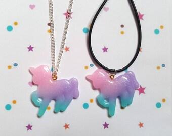 Glitter unicorn necklace, Unicorn necklace, Unicorn pendant, Unicorn, Unicorn lovers, Glitter, Rainbow, Pastel, Kawaii, Pastel goth