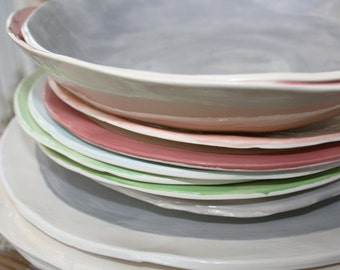 Plate dessert / / plate / / bowl / / Pottery / / ceramic / / tableware / / Set