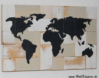 HolzKaspero world map on Upcycling spruce