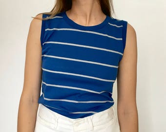 Vintage 100% Cotton Blue and Grey Striped Tank /Blue Tank / Cotton Tee Shirt Dead stock (small)