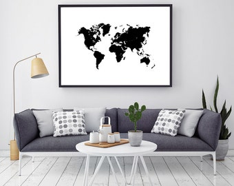 Black And White Large Printable World Map Poster, World Map Canvas Wall Art, Push Pin Travel Map, Traveler Gift
