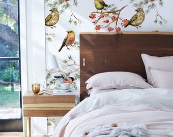 Forest Birds Wallpaper, Removable, Peel&Stick, Repositionable Wall Mural, Animals, Birds on Branches Wallpaper, Self-Adhesive #119
