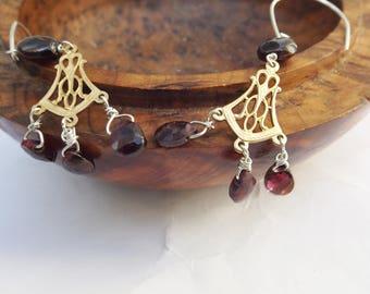 Vintage chandelier earrings, sterling silver, garnet earrings, 1950s earrings, vintage brass, 1950s brass, drop earrings