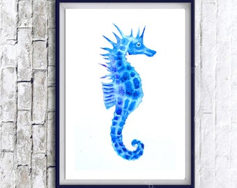 1+1=3! Print Watercolor seahorse painting, watercolor seahorse painting, seahorse, seahorse painting, animal print, animals paintings