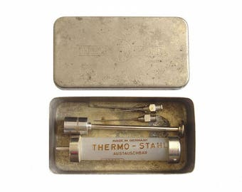 Antique Vintage Germany Medical Brass Syringe Glass with metal box Sterilizer. Medical Surgical Instrument Sterilizer Box ORIGINAL RECORD
