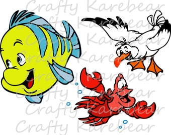 Collection - Little Mermaid Friends SVG and DXF Ditial File Download