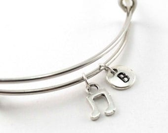 MUSIC NOTE bangle, silver music note bracelet, musician charm, initial bracelet, adjustable bangle, personalized jewelry, birthstone, gift