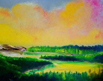"Summer Oil Painting Landscape Print 8.5""x11"" print-Dawn Lake-"