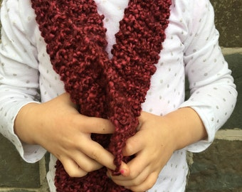Toddler hand knit scarf