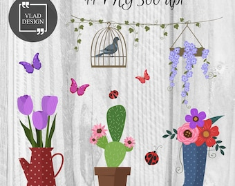11 Spring Elements Spring Clipart Digital Spring Elements Cute spring graphics Fowers clipart Bird Butterfly Succulent Flower pot