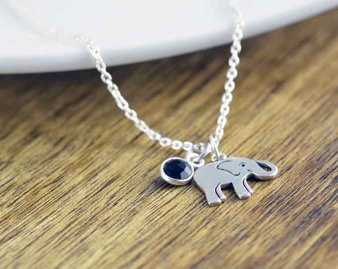 Elephant Necklace -  Elephant Jewelry - Gemstone Necklace - Good Luck Elephant Necklace - Yoga Necklace - Yoga Jewelry - Christmas Gifts