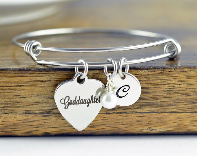 Goddaughter Bracelet, Goddaughter Gifts, Gift for Goddaughter, Religious Jewelry, Personalized Communion Charm Bracelet, Engraved