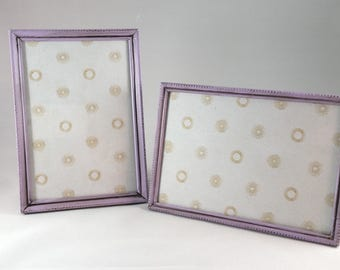 Set of 2 Upcycled Lavendar Picture Frames; 5x7 Photo Frames; Light Purple Frames, Small Metal Frames; Tabletop Frames