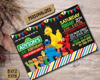 Sesame Street Invitation / Sesame Street Birthday Invitation / Sesame Street Bithday / Sesame Street Birthday Party / Sesame Street