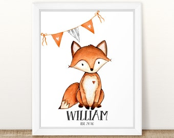 Personalized Baby Gift, Personalized Nursery Print, Custom Name Baby Gift, Cute Fox Nursery Wall Art or Baby Book Page, Nursery wall art.