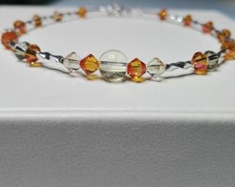 Silver bracelet, beaded bracelet, handmade bracelet, crystals bracelet