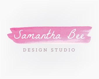 Premade Logo Design - Pink Watercolor Paint Logo
