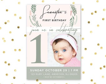Printable first birthday floral invites - Pastel Floral Pink Garden Party First Birthday One Years Old - 006