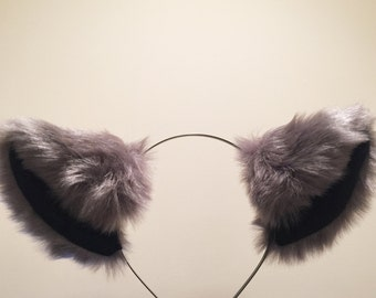 Cat ears Kitty Headwear Dark Warm Grey Black Inside Furry Animal Headband Costume Bow Bells