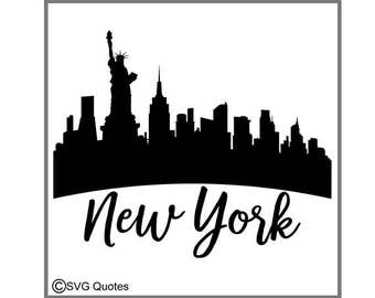 SVG DXF EPS Cutting File New York Skyline For Cricut Explore, Silhouette & More.Instant Download.Personal and Commercial Use.Vinyl Stickers