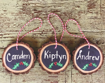 Hand painted wood ornament