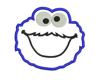 6 sizes - Cookie Monster Applique Design, Sesam Street Applique Design, Cookie Monster Embroidery Design, Cute Blue Monster Applique Design