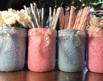 Gender Reveal Mason Jars, Set of 4, Pink and Blue Baby Shower, Glitter Mason Jars, Girls Room, Gender Reveal Decorations, Gender Reveal