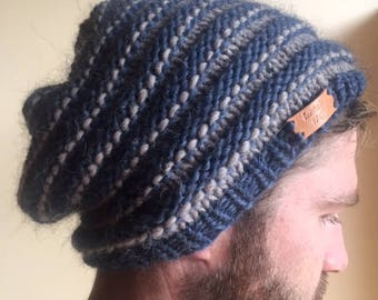 mens blue and beige slouchy