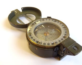 Stanley London Prismastic Compass - British Army Military - Green/Lightweight/Faulty - E184