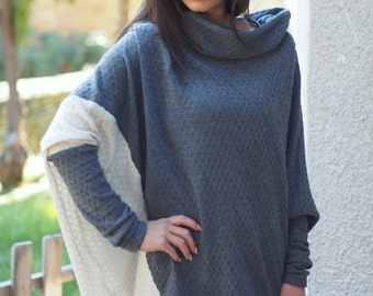 Grey Asymmetric Maxi tunic blouse/Grey fine knitted tunic blouse/asymmetrical loose knitted blouse/fine knitted top/sweater with a collar