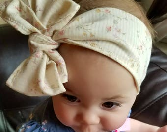 Vintage tiny flower print big bow head wrap head band baby infant toddle baby girl baby gift