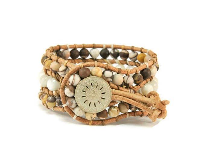 Boho Ariadne * Jasper & Moonstone. 3 strand Wrap Bracelet. Boho Style. Bohemian Jewelry. Semiprecious stones. Gift for her. Cuff Bracelet.
