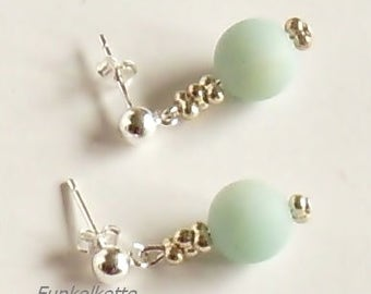 925 Silver studs earrings gemstone earrings light blue matt Amazonite fine and noble delicate feminine length 3,0 cm