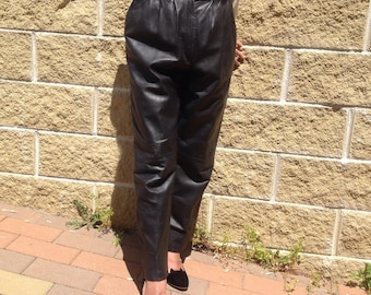 80s Vintage leather trousers pants high waist pants//////leather pants.